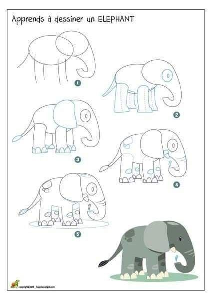 J 39 apprends a dessiner - Elephant en dessin ...